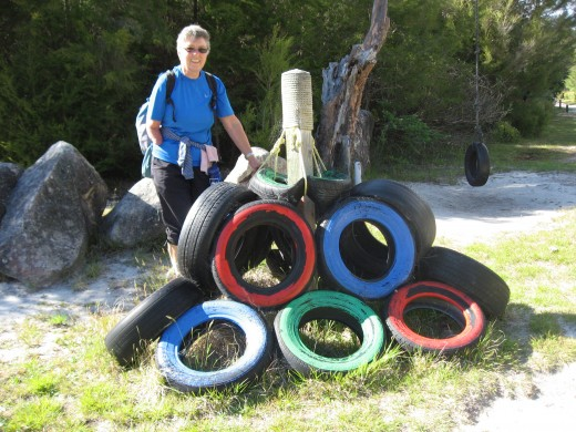 In the little town at the edge of the tidal bay New Zealanders get artistic with old tires.