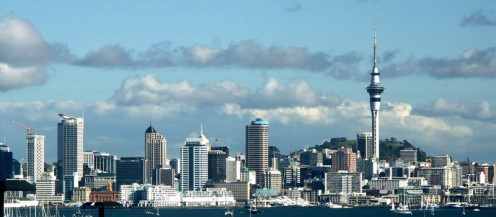 Skyline of Auckland, New Zealand.