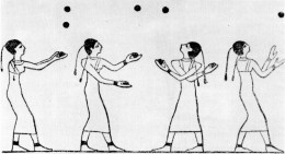 Drawing of Egyptians juggling