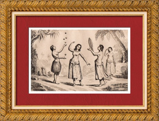 During Malaspina's visit to Vavau, Tonga circa 1793. Women perform a variety of dances and games, including hiko (juggling).