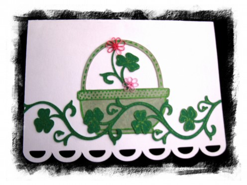 Basket from Cricut Doodlecharms. Vine created with Cricut and Sure Cuts A Lot. Flowers are tatted. Accented with glitter pens. This is an all occasion card, perfect for any occasion. Put in a couple of lottery tickets and somebody could get lucky!