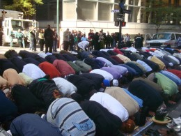 Hundreds of Muslims take up prayer on Madison Avenue street in New York. They bussed in a few hundred to be sure they stopped all commerce.