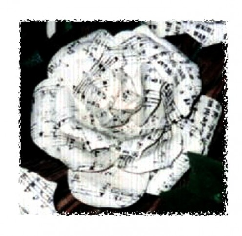 Made from newspaper, this rose looks gorgeous decades after you make it. I made several wreaths featuring my Musicians Rose and a few corsages for music teachers and choir directors.