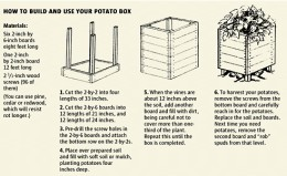 You can grow over 100 pounds of potatoes in a simple box you build. Just click the photo for the large photo and follow the example.
