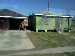 One of the abandoned houses in the 9th Ward that have been destroyed by Hurricane Katrina