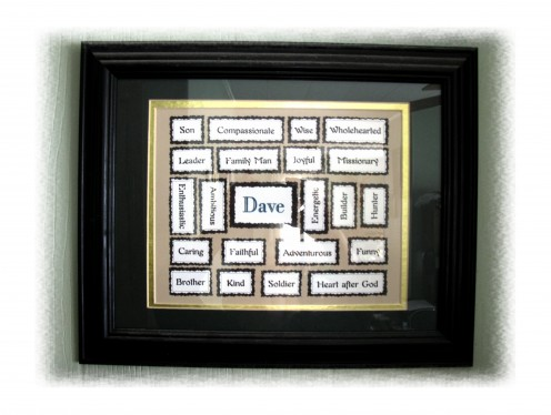 Birthdays too, this name plaque will let that special person know that somebody sees how wonderful they are. Although tricky to lay out, it is worth the time. This is one of the two that I've made so far. Both men were really touched by this gift.