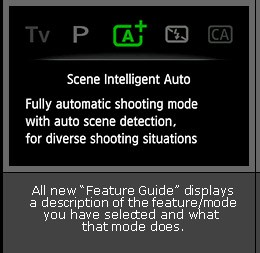 Feature Guide as seen in the LCD panel