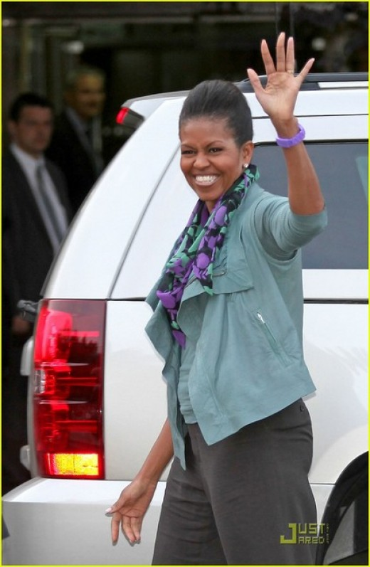 Michelle Obama wearing a classic scarf