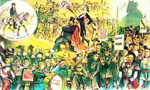 1881 US cartoon about President James A. Garfield, satirically contrasting his elaborate inauguration procession with that of Thomas Jefferson.