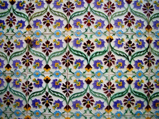 Colored tiles in Raj Rajeswar temple