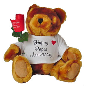 Anniversary Bear with Paper Rose