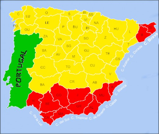 The Costa Brava can be seen in the far North East corner of Spain.