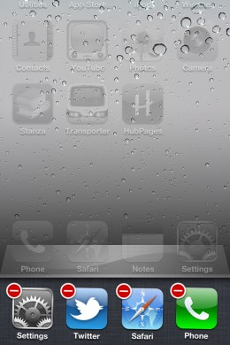 Note the red minus signs next to my open apps.