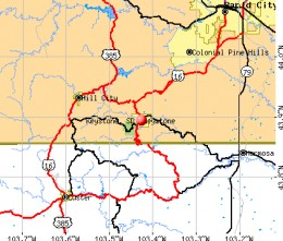 Map to Keystone travelling from Winner, SD