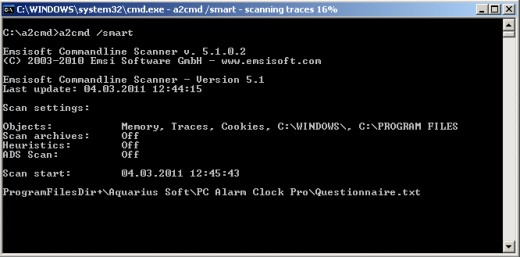 EMSISOFT anti-malware command-line scanner SMART scan running