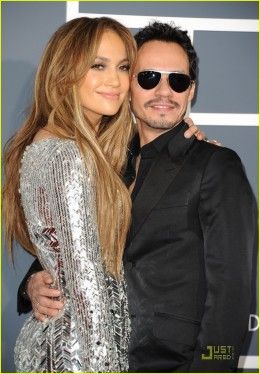 Jennifer Lopez and Mark Anthony at the 2011 Grammy Awards photo credit: getty image via justjared.buzznet.com