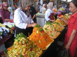Fabulous varieties of salads for take out at the market.