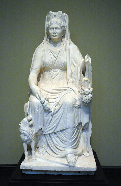 Cybele with her attributes, (Getty Museum), a Roman marble, c. 50 CE