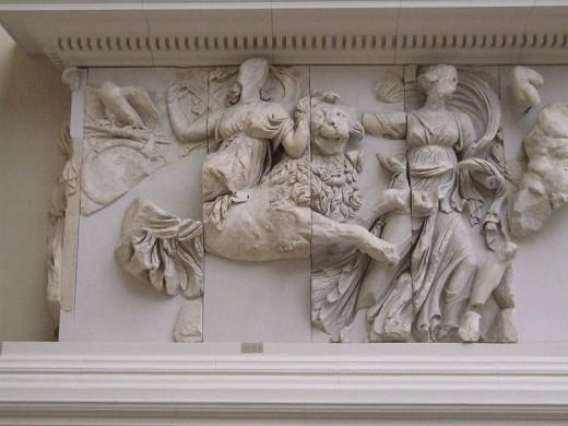Rhea rides on a lion, Pergamon Altar, Pergamon Museum, Berlin.