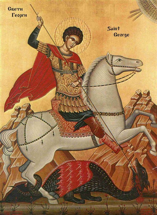 Saint George - Patron Saint of England - a Roman bloke, doing something nasty to a Dragon.