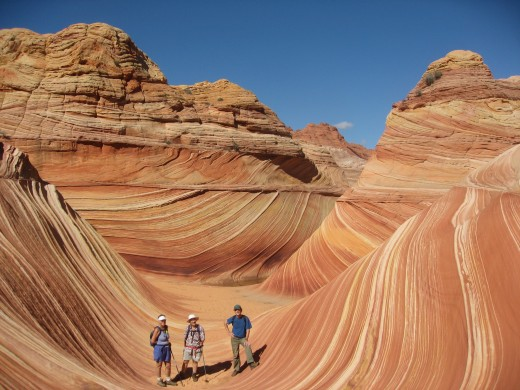 This is the amazing curved sandstone rock formation called THE WAVE