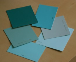 Aqua and teal green color swatches showcasing the various color tones in this fun family of colors