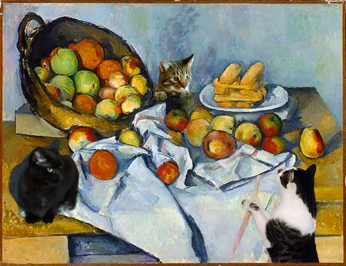 """Cezanne's Cats"" is from a humorous series of contemporary cat art in which Deborah imagines how famous artists cats might have participated in their work. Here, three of them ""help"" Cezanne set up a still life."