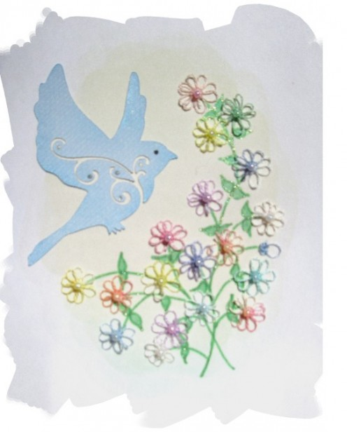 Today's new Tatted Greeting Card. I love birds and gardens!
