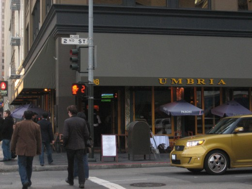 Ristorante Umbria on the corner of Second Street and Howard in San Francisco.