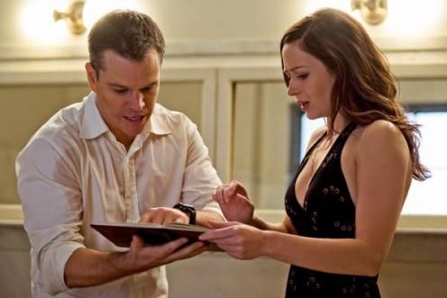Matt Damon and Emily Blunt in the film, the Adjustment Bureau.