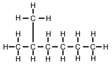 The longest chain has 6 carbons and only single bonds, a 1 carbon alkyl group hangs of the 2nd carbon: 2-methyl hexane