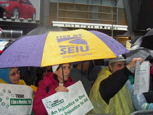 SEIU at protest. That's Obama's baby.