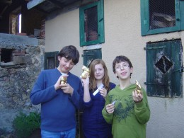 Three happy kids with their prizes