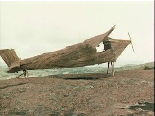 A plane built by natives to encourage the return of Frum
