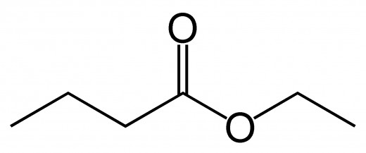 (note that the carbons and hydrogens have been omitted) The alcohol group is one carbon long, and the carboxylic acid group is 4 carbons long: ethyl butanoate