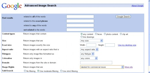 Google Advanced Search gives you lots of options to restrict what comes back in your image search results.