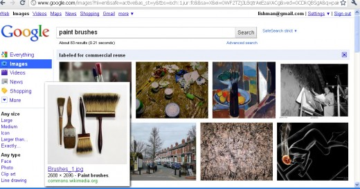 Google image search result display thumbnails of the relevant images.