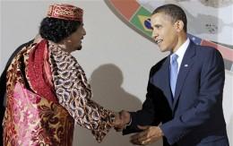 Obama and Gaddafi