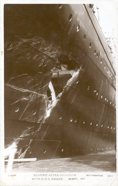 Collision damage to the Olympic