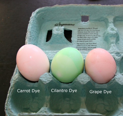 Easter eggs colored with organic dye.