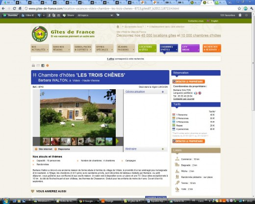 Our Bed and Breakfast page on Gites de France