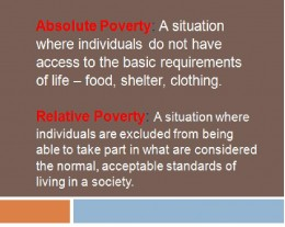 absolute poverty what society is doing This is on stratificationsociology- what is absolute poverty how is it measured what is relative poverty why do some people support a relative poverty measurement over an absolute poverty measurement.