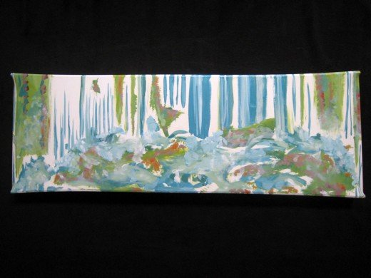 "Oil on linen stretched over repurposed wood. 36"" x 10"" x 2"" 2009"