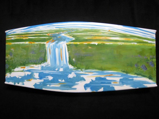 "Oil on linen stretched over repurposed wood. 36"" x 15"" x 2"" 2009"