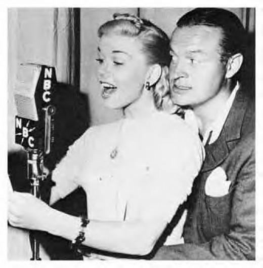 Doing radio work with Bob Hope in 1947.