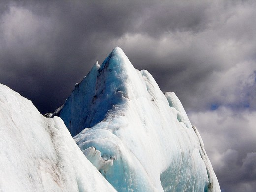 Large iceberg that broke off the toe of the glacier and is floating in the lake