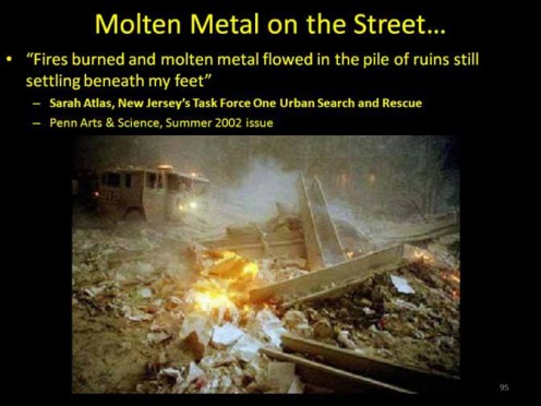 Image depicting the presence of molten steel in the rubble of the twin towers