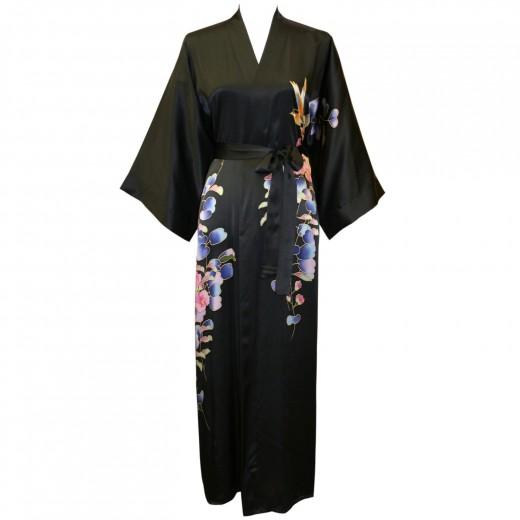 Buy a long silk kimono robe