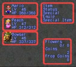 This is a picture of the main menu in the Super Mario RPG for the Super Nintendo Entertainment System. You can see Level and HP (Hit Points) for each character.