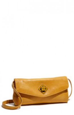 photo credit: nordstrom.com Mustard clutch - Ted Baker logo twistlock envelope clutch, $220